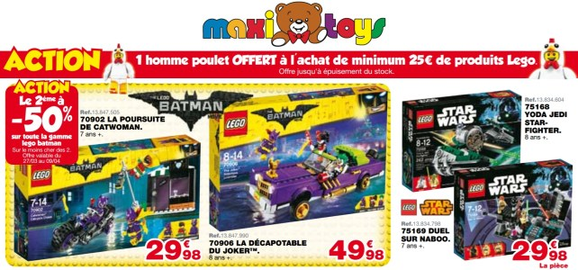 Promotion Maxi Toys : le 2eme set LEGO Batman Movie à -50% et Chicken Guy offert