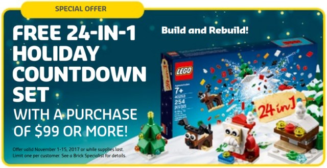 Store Calendar LEGO 40253 24-in-1 Holiday Countdown Set