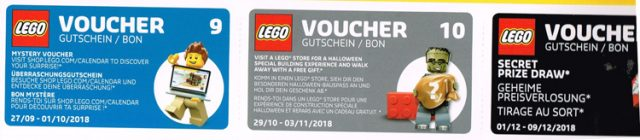 Calendrier officiel LEGO 2018 vouchers 2