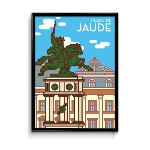 affiche illustrée avec en premier plan la statue de vercingétorix de la place de jaude et le bâtiment de l'opéra théâtre de clermont ferrand en arrière plan