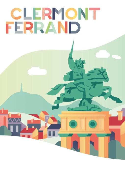 poster ou affiche Clermont-Ferrand statue de Vercingétorix par Bartholdi