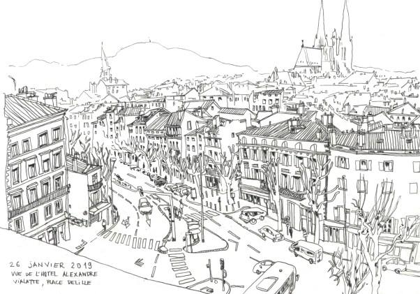 Vue de la place Delille à Clermont-ferrand en dessin