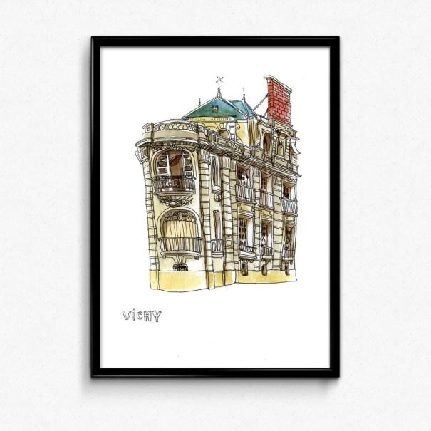 aquarelle hôtel particulier à Vichy dans l'Allier