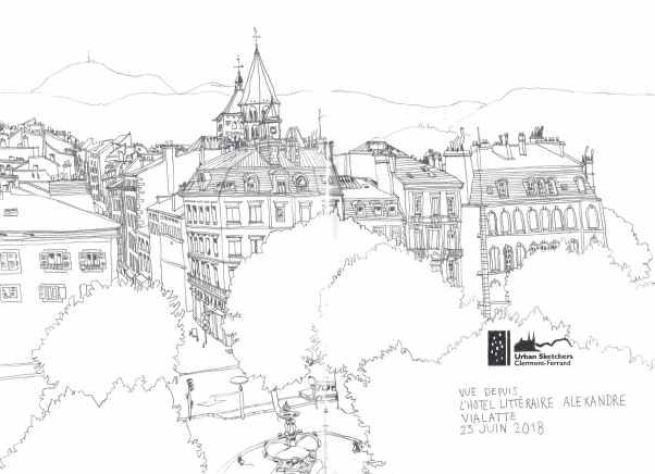 dessin illustration en noir et blanc de la vue sur les hauteurs de clermont ferrand en auvergne