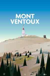 poster illustration sur le mont ventoux en provence