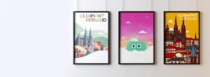 affiches clermont-ferrand accrochées à un mur