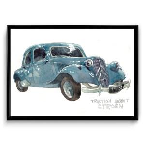 illustration à l'aquarelle d'une voiture traction avant de marque citroën