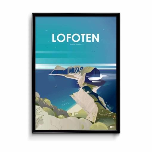 illustration en affiche des îles lofoten dans un style vectoriel avec un ciel bleu