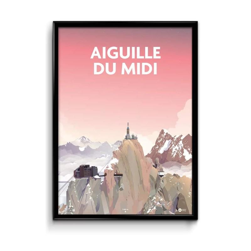 affiche avec une illustration représentant la montagne de l'aiguille du midi avec un ciel rose en fond