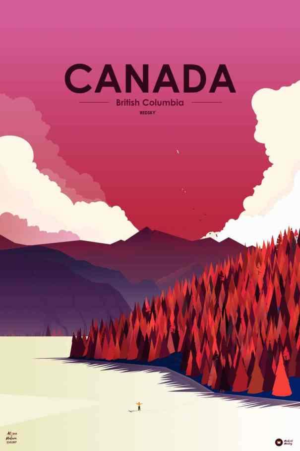 illustration dans une gamme de rouge sur un lac du canada