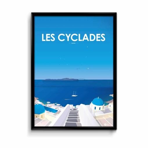illustration avec fond bleu figurant quelques maisons grecques typiques des cyclades au premier plan et lamer et le ciel bleus au fond