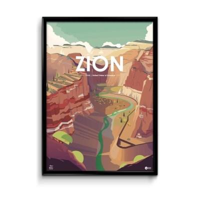 illustration numérique d'une affiche du parc de Zion aux états unis