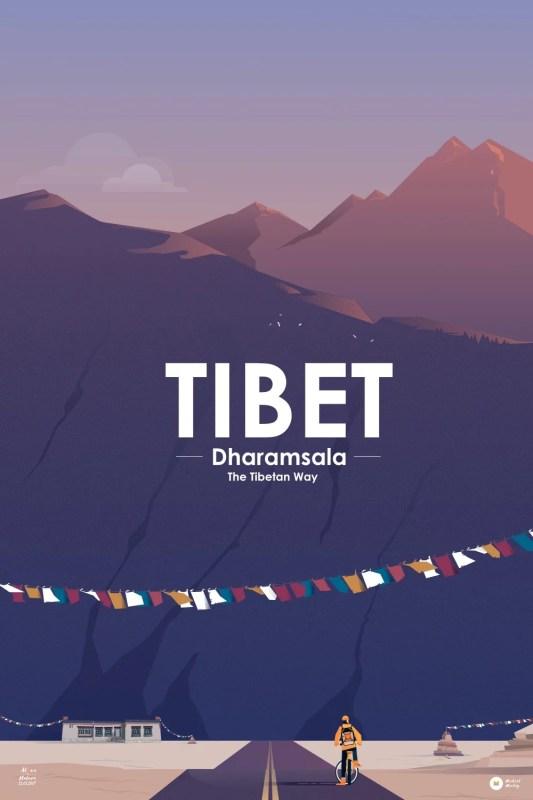 illustration d'une décor de montagne de l'himalaya avec un cycliste en premier plan