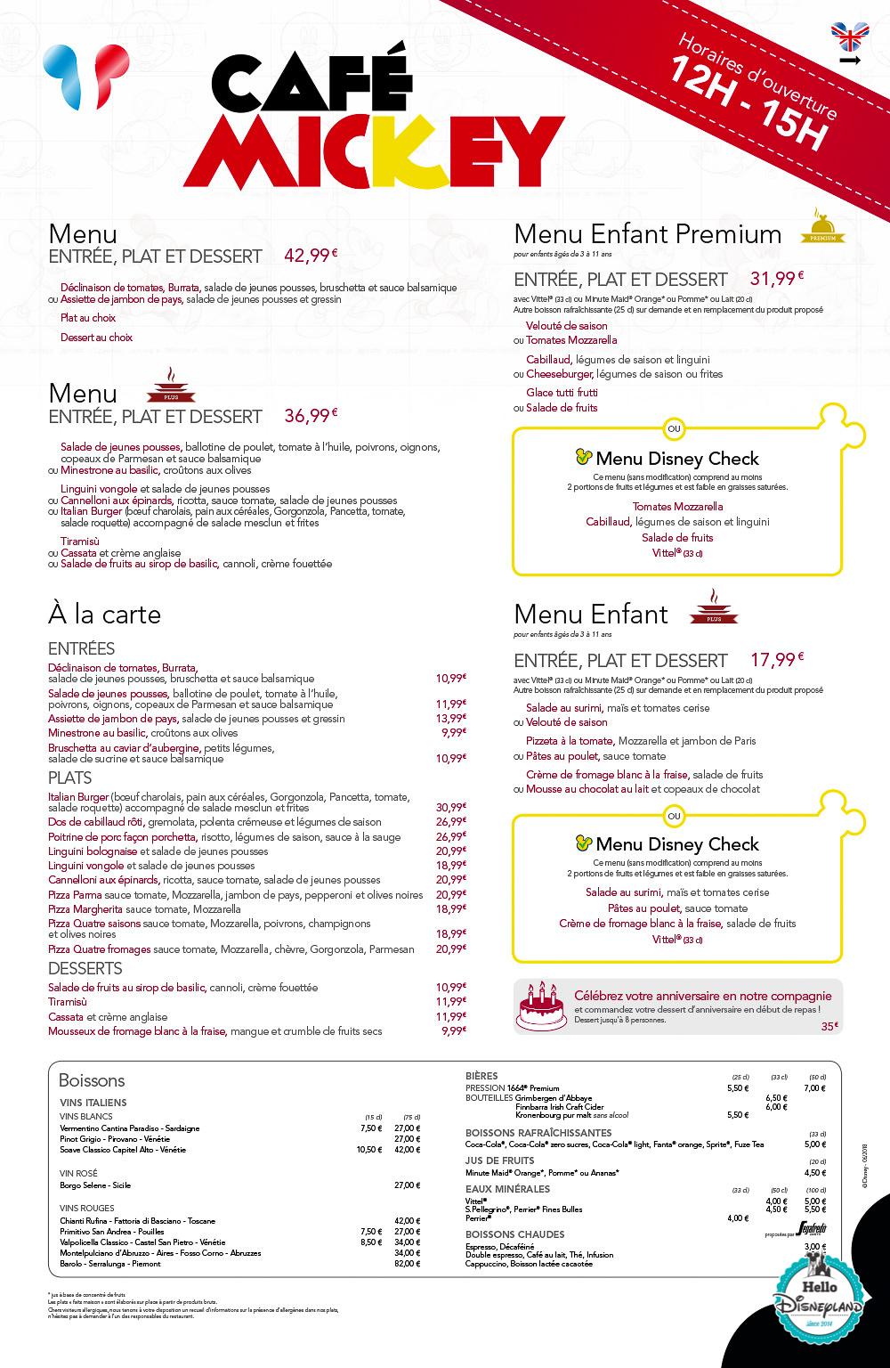 Menus Café Mickey Disneyland Paris