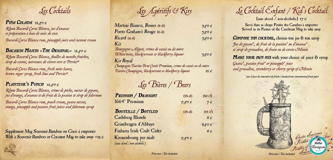 Menus Captain Jack's - Restaurant des Pirates Disneyland Paris