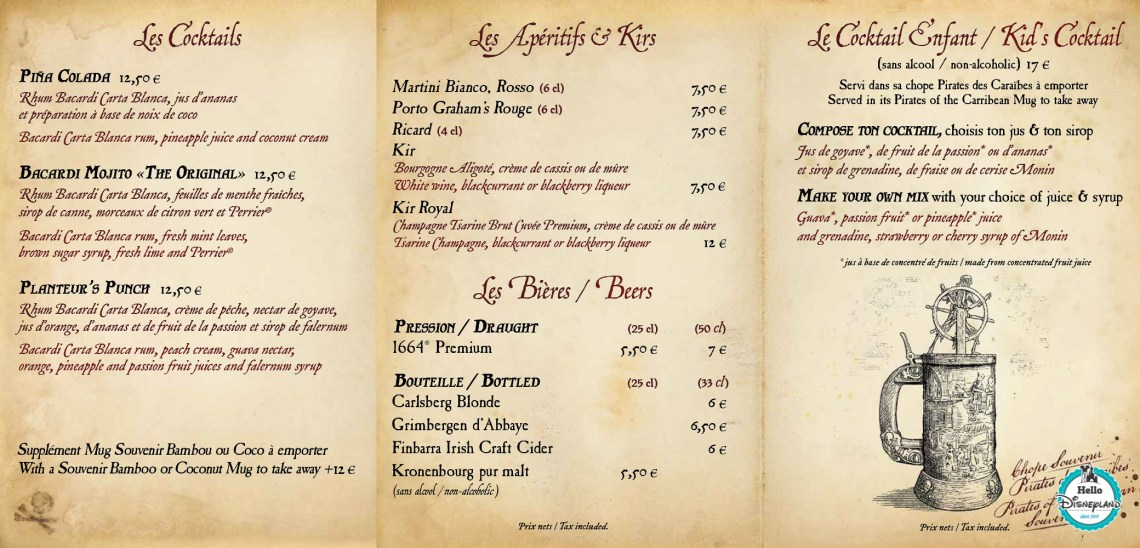 Menus Captain Jack's - Restaurant des Pirates Disneyland Paris