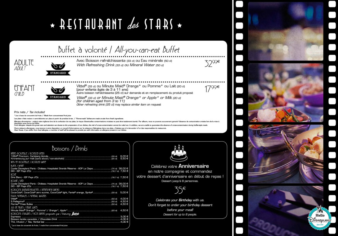 Menus restaurants Disneyland Paris