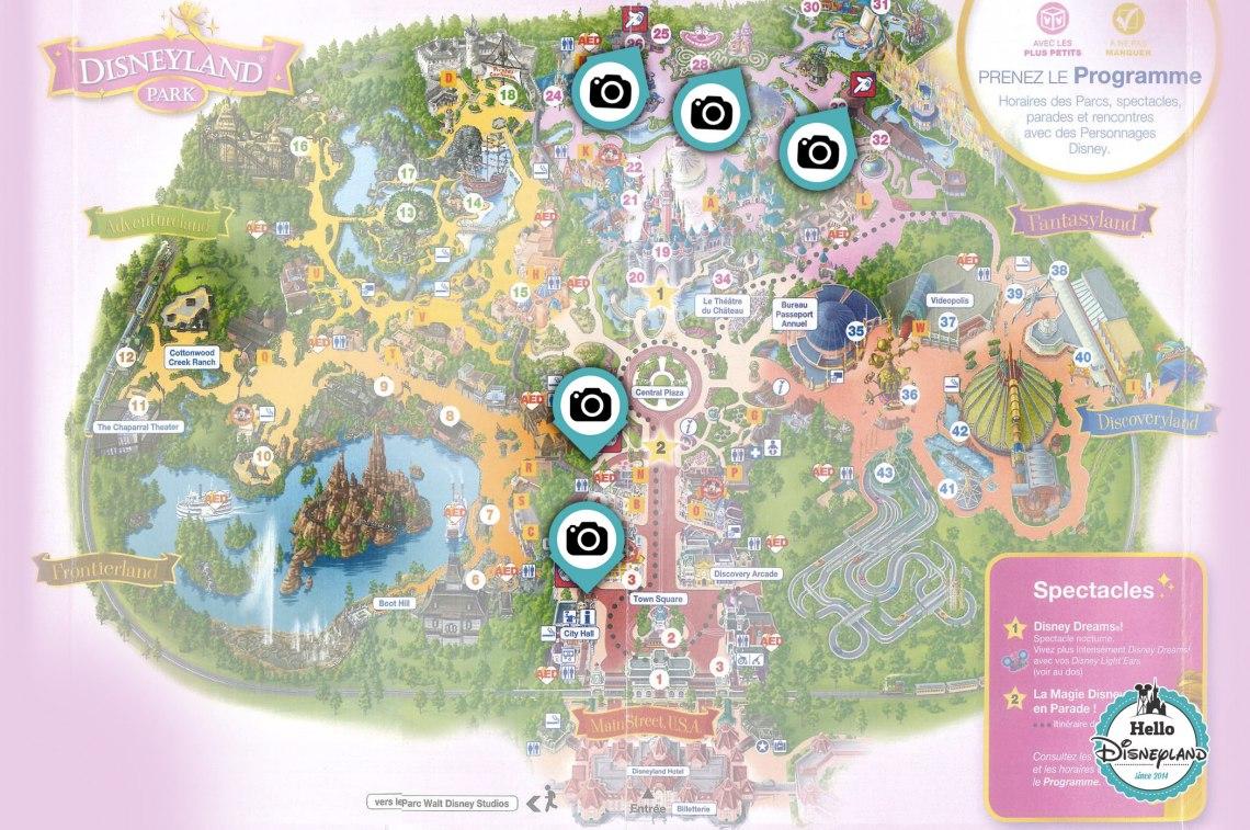 Points Photo Princesses et Personnages Disney au parc Disneyland