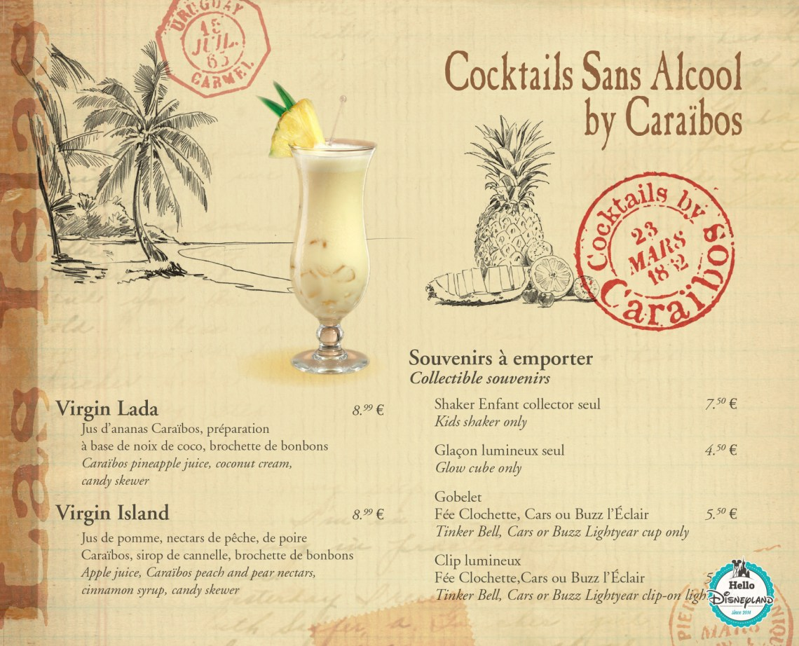 Carte des Bars - Cocktails et Boissons - Disneyland Paris