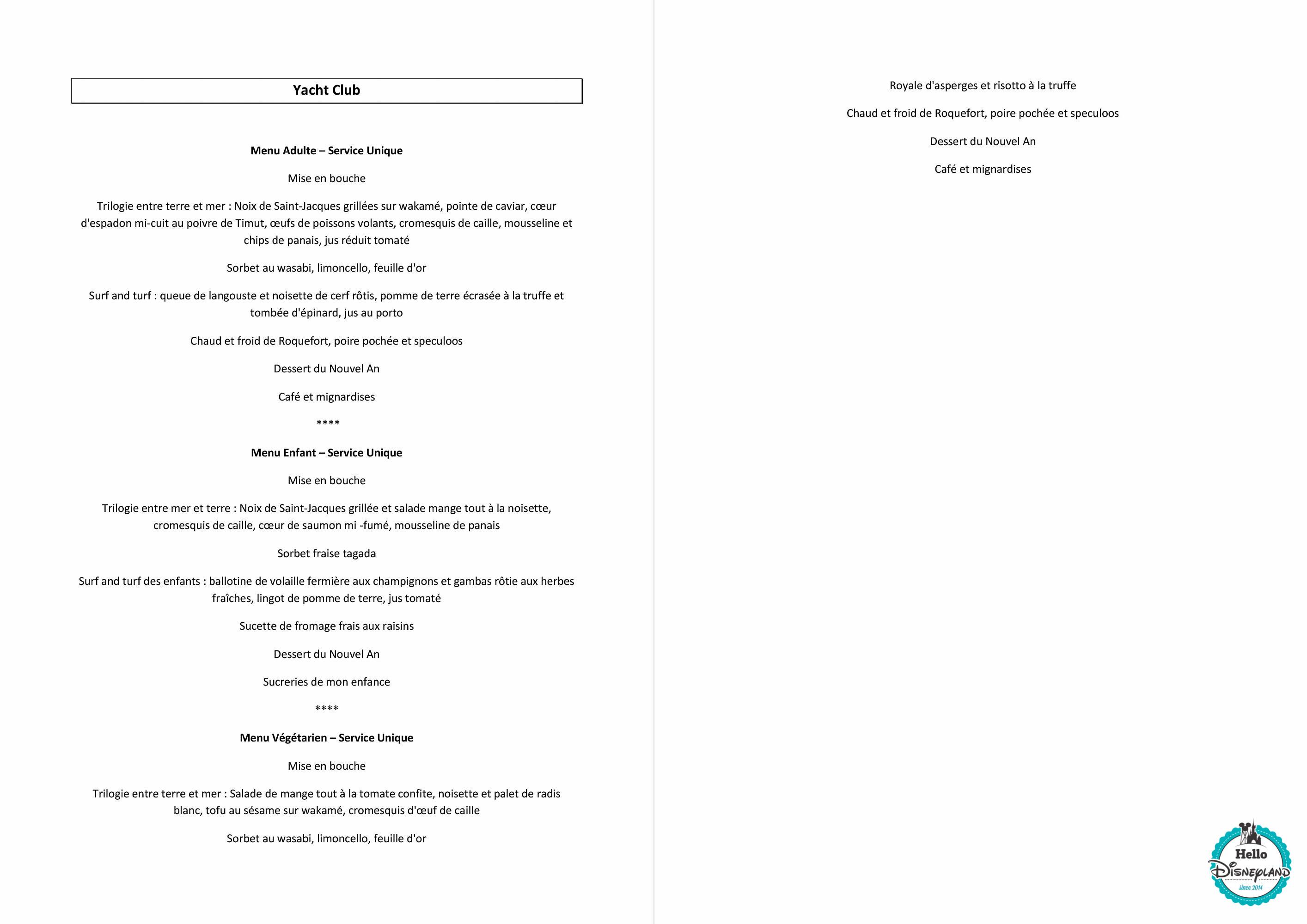 le yacht club disney s newport bay club menu reveillon du nouvel