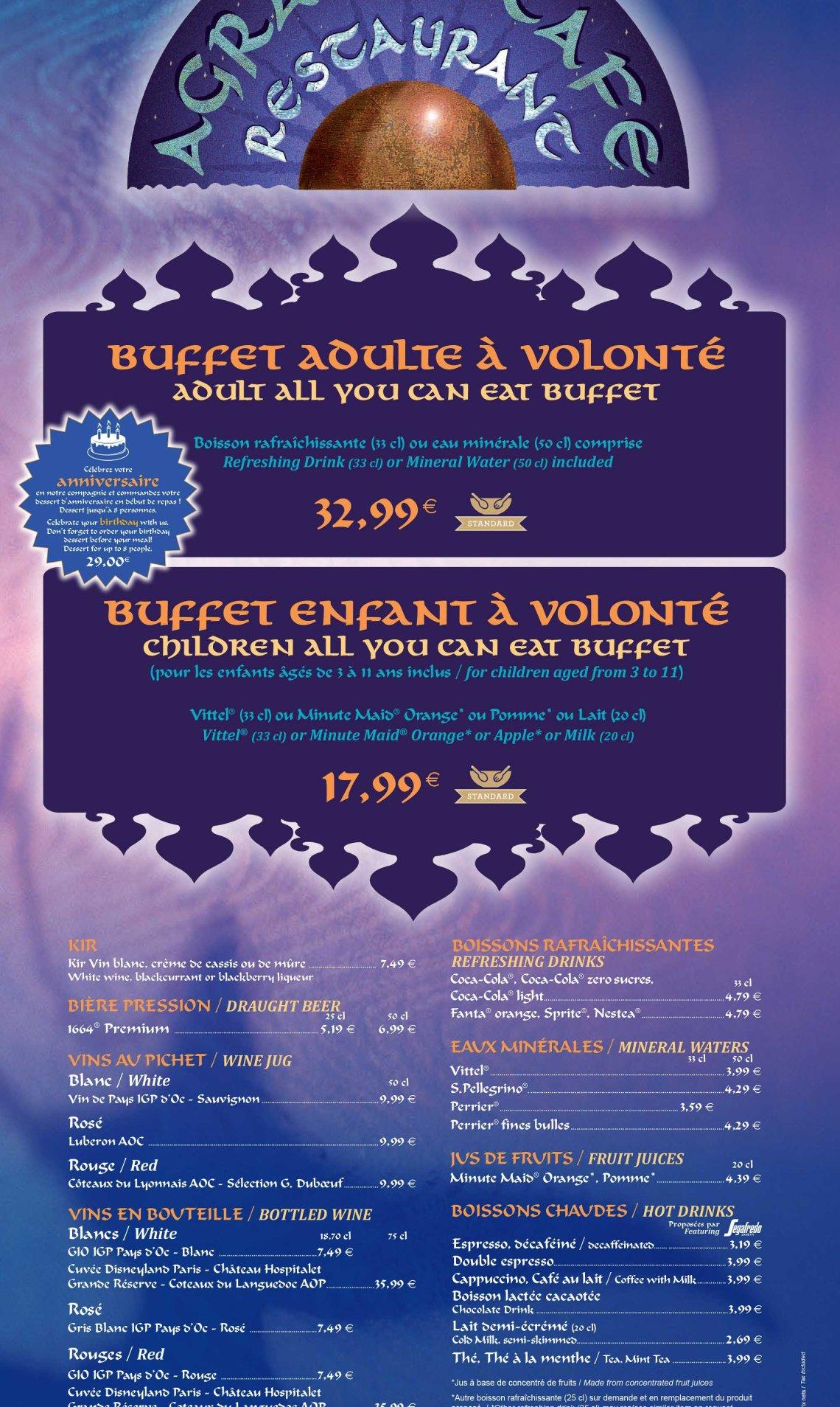 agrabah - Menu Restaurant 2015 - 2016 Disneyland Paris