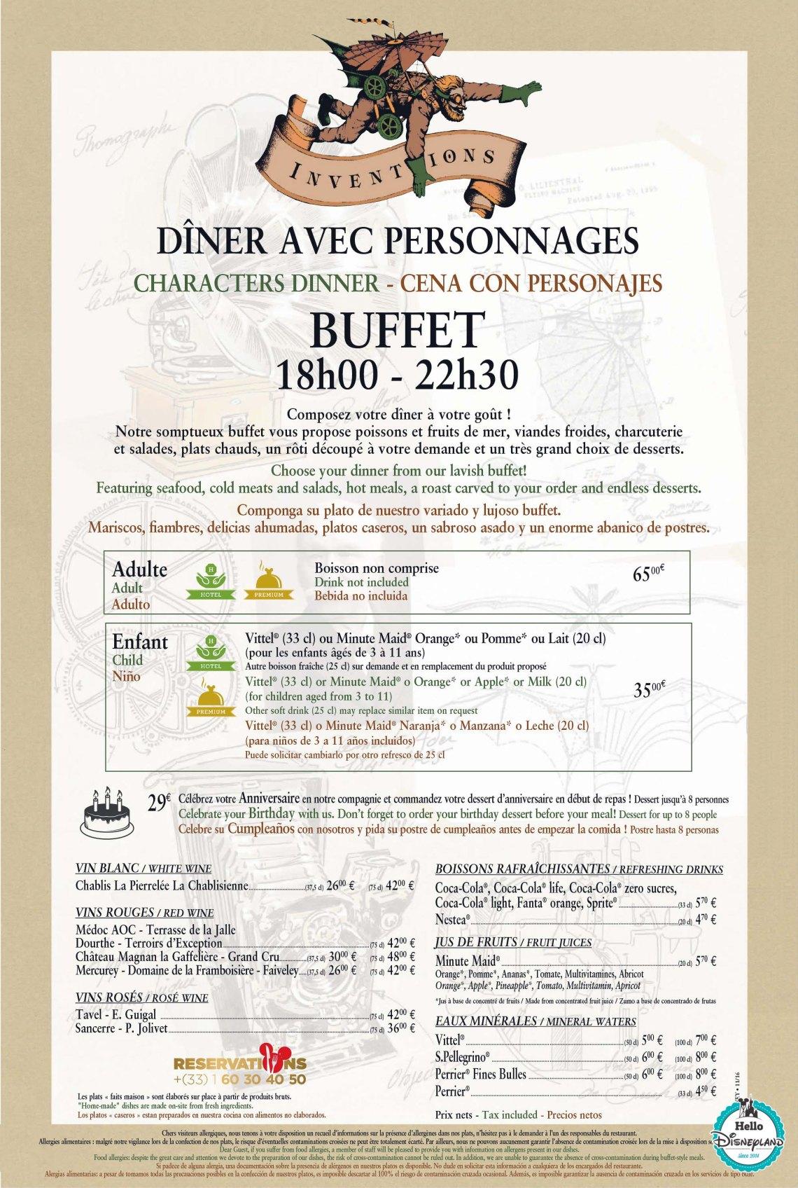 Inventions-2016-disneyland Paris Menus Restaurant