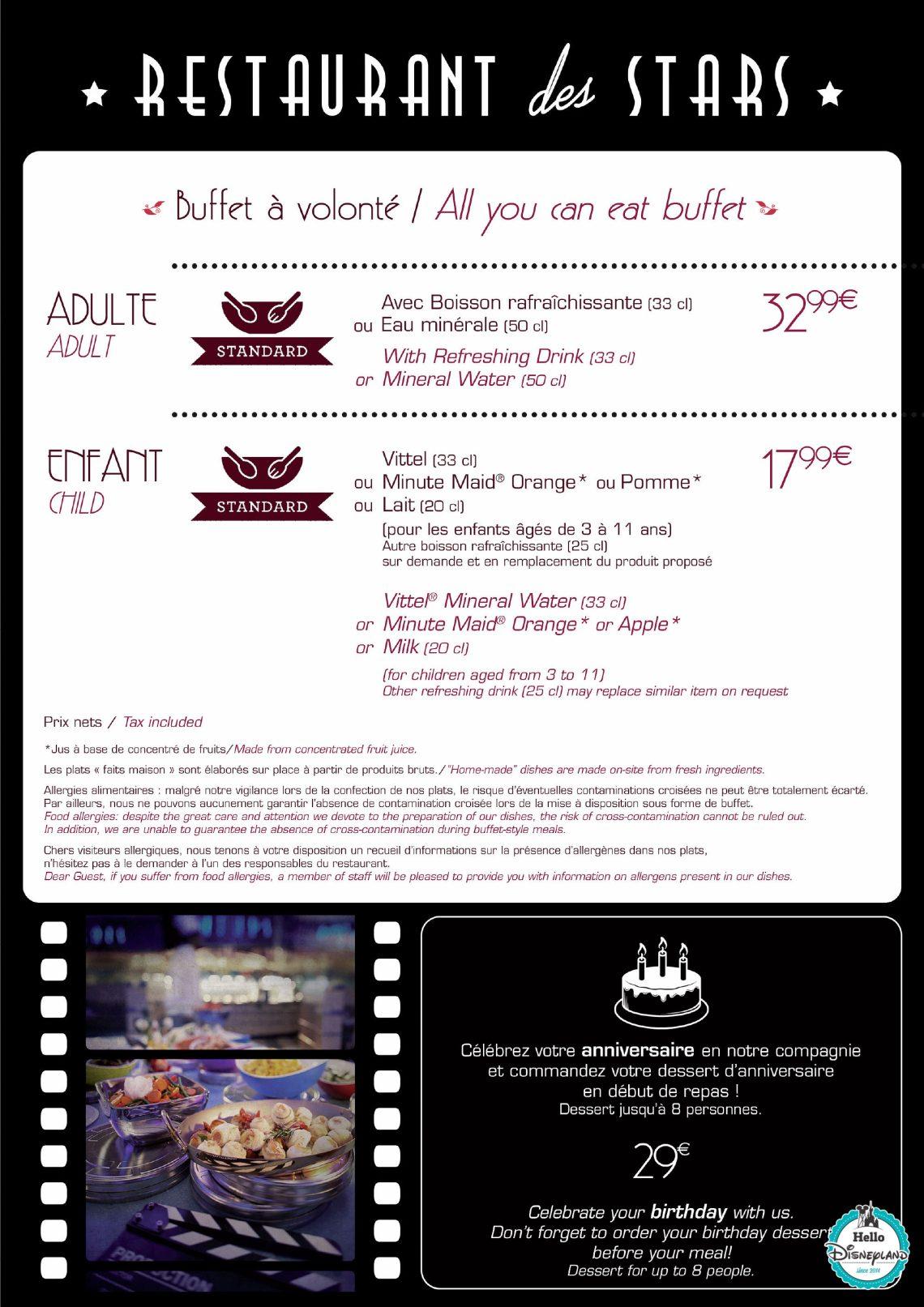 Restaurantsdes stars - Menu Restaurant 2015 - 2016 Disneyland Paris