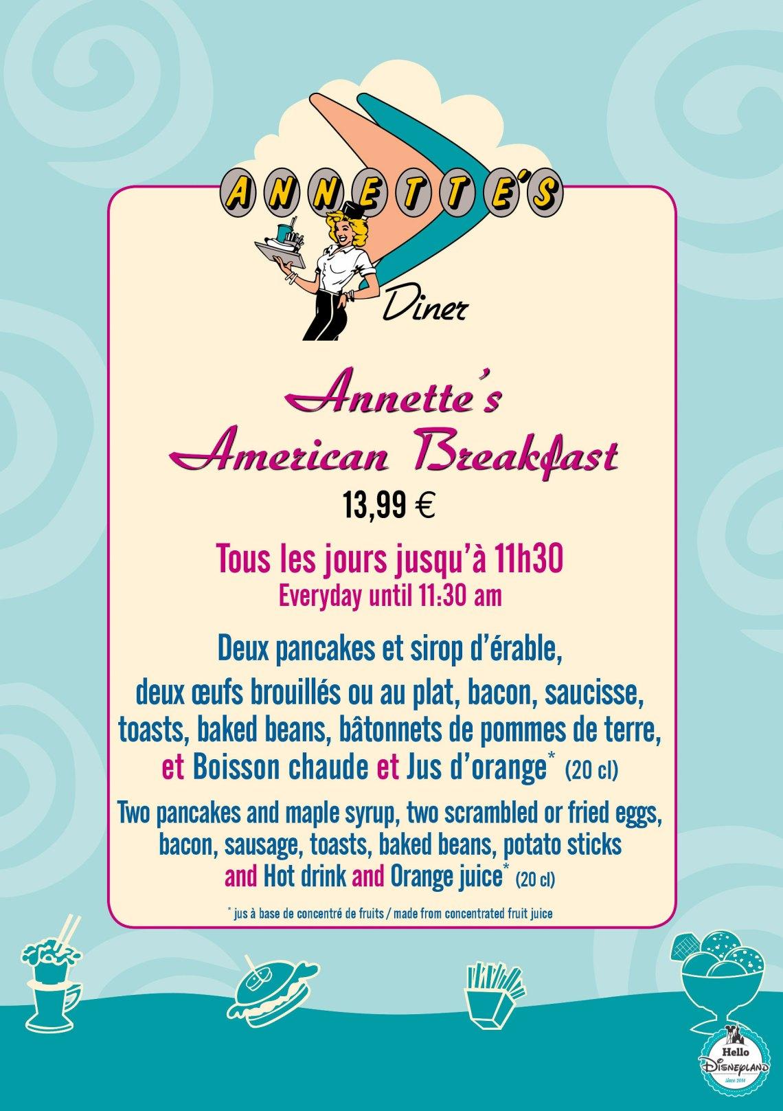 Menu annette's Diner 2017 Disneyland Paris