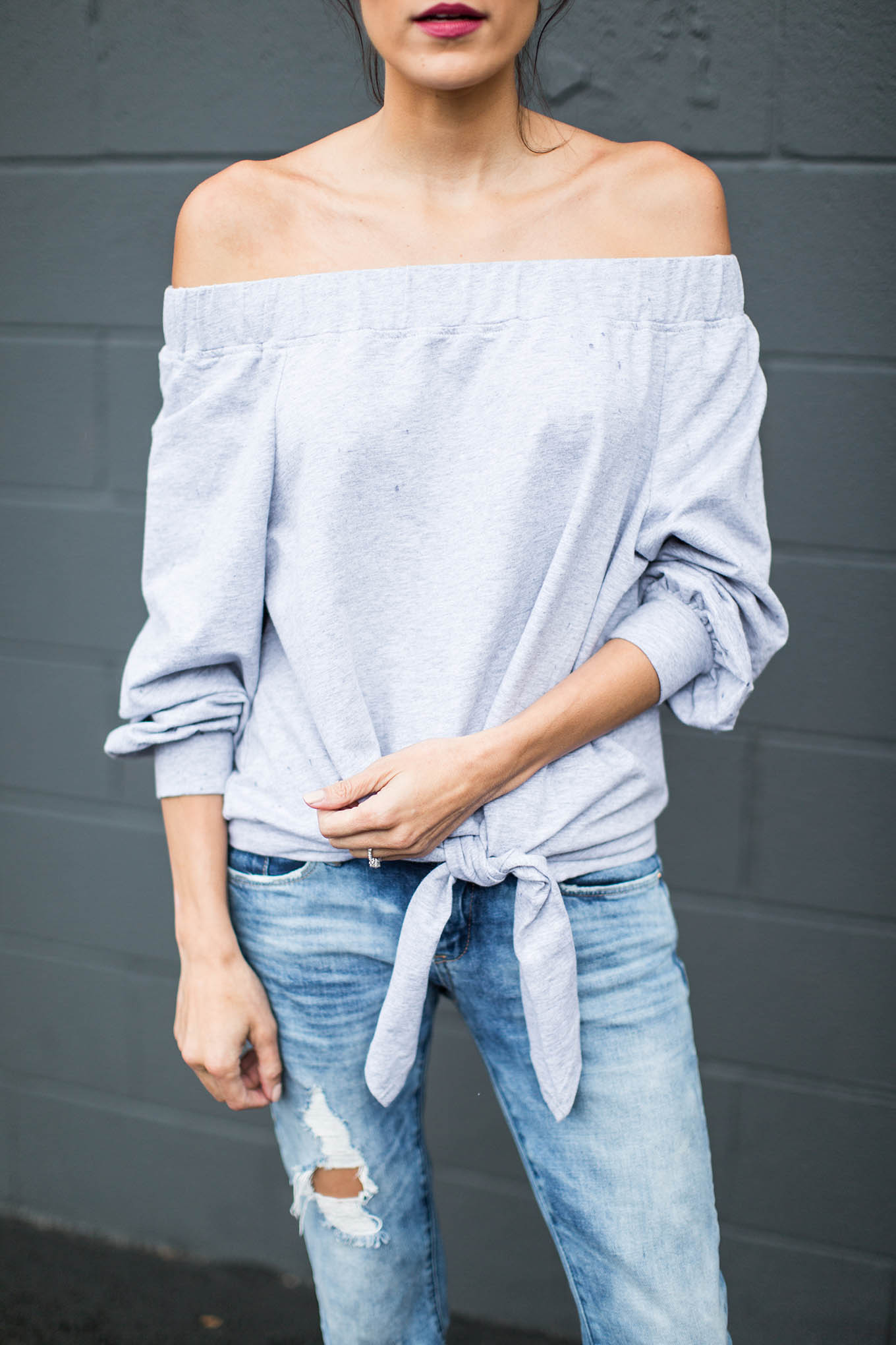 ily couture grey off-the-shoulder