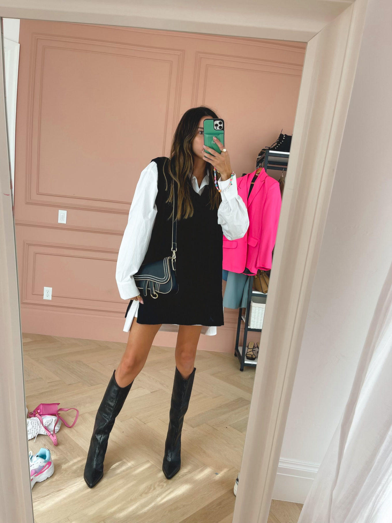 sweater vest, fall boots, saddle bag, christine andrew