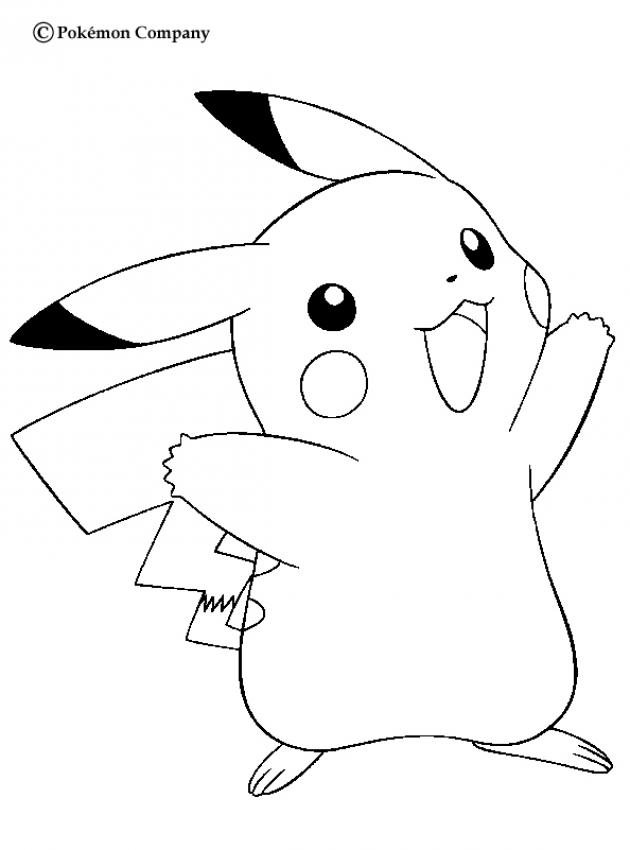 electric pokemon coloring pages happy pikachu