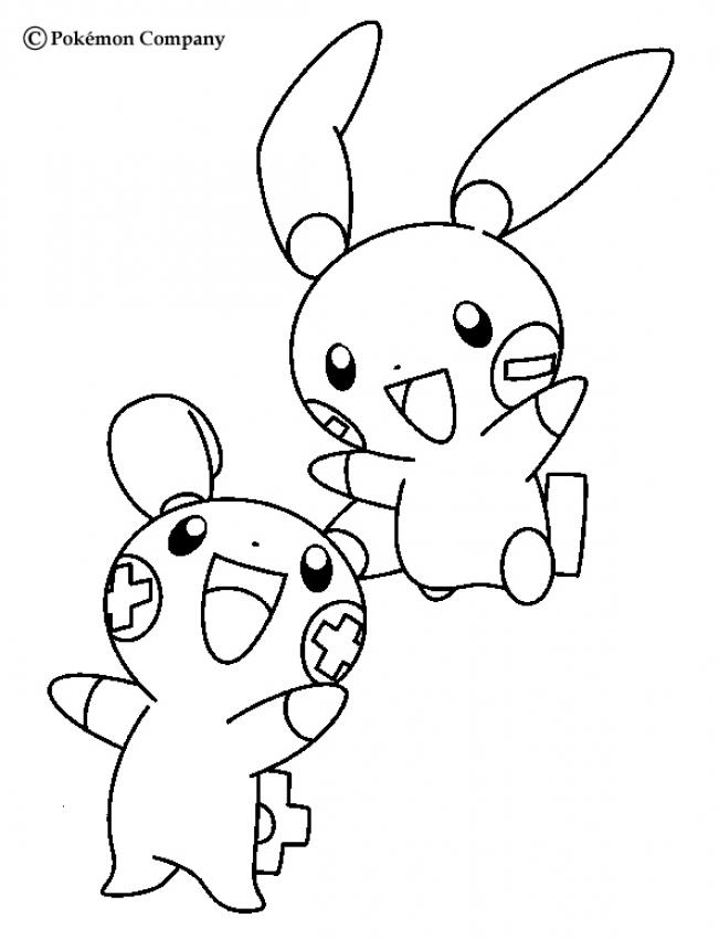 electric pokemon coloring pages plusle and minun