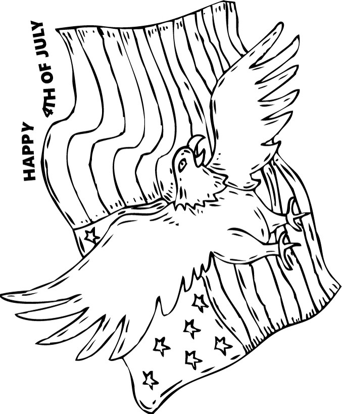 bald eagle and american flag coloring page