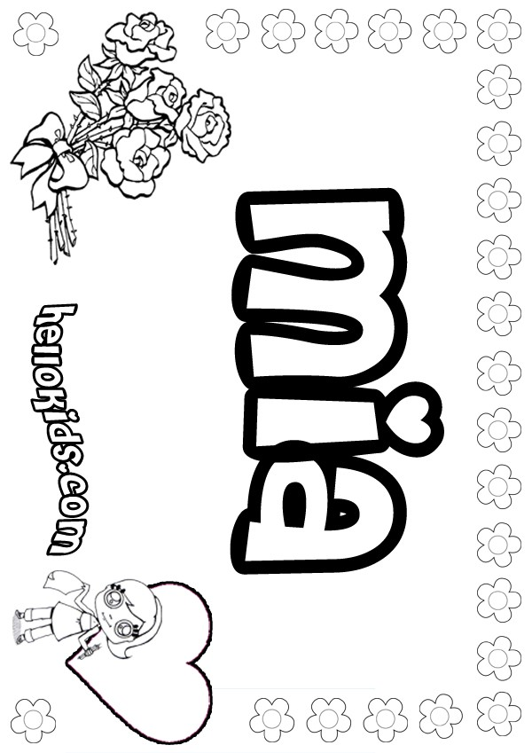 Girls Name Coloring Pages Mia Girly Name To Color
