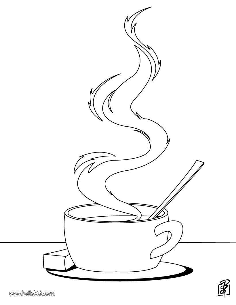 cooking coloring pages  cup of tea