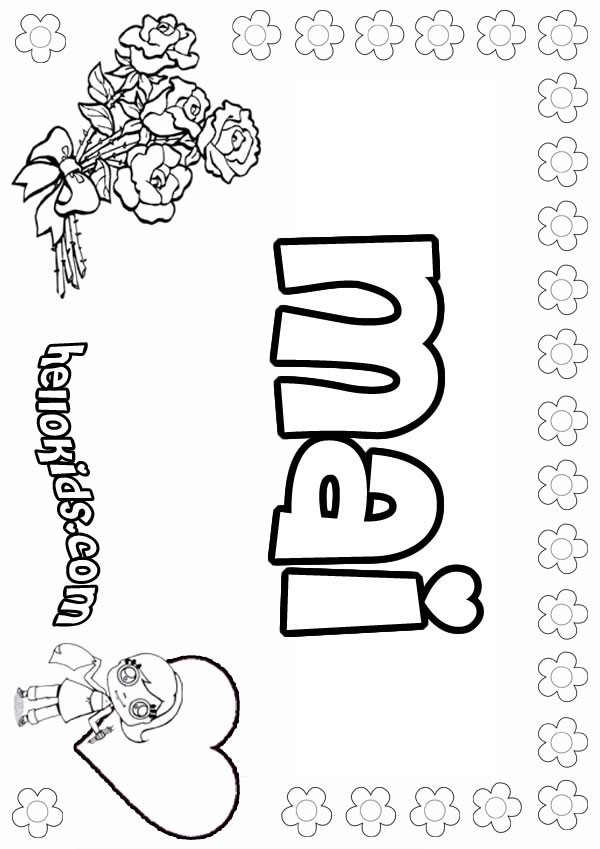 Girls Name Coloring Pages Mai Girly Name To Color