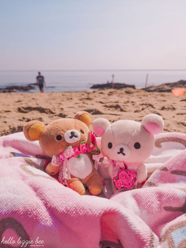 Rilakkuma and Korilakkuma plushies on holiday at the beach in Cornwall by hellolizziebee