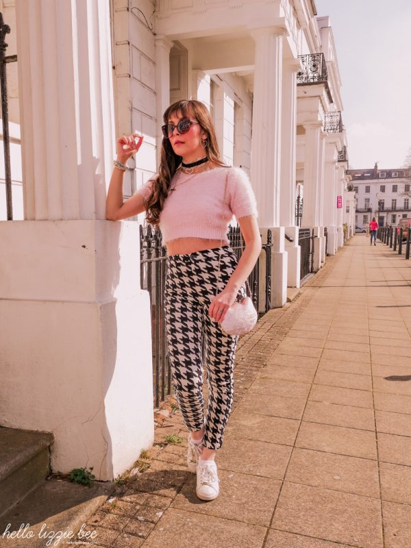 spring outfit, houndstooth trousers, gyaru kei