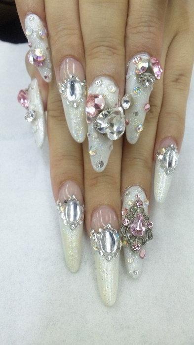 White bejewelled nail art