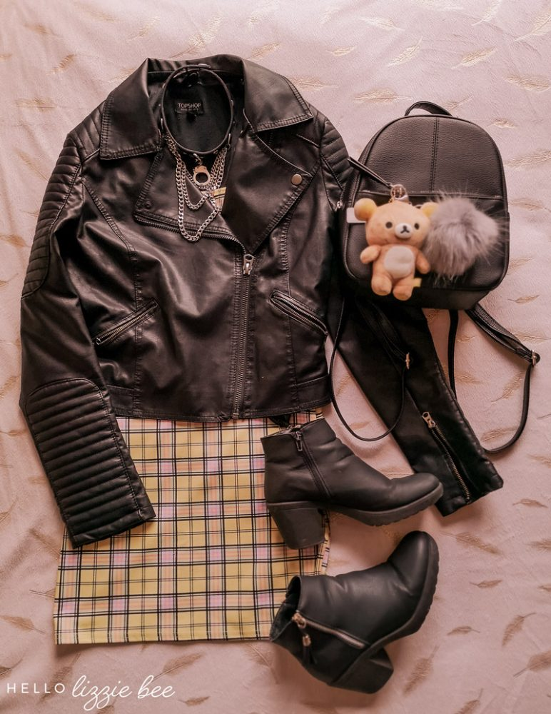 Grunge outfit with checkered dress