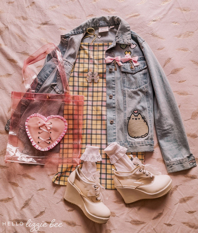 Kawaii outfit with pusheen jacket and checkered dress