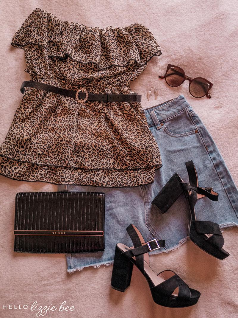 Onee gyaru outfit idea with denim skirt