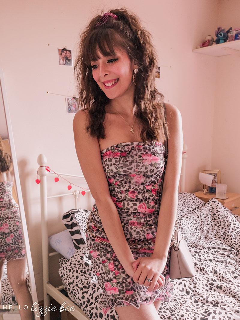 Cute agejo gyaru look with leopard print dress via hellolizziebee