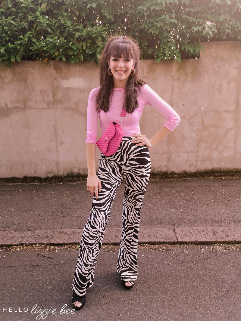 Cute gyaru outfit with zebra print trousers