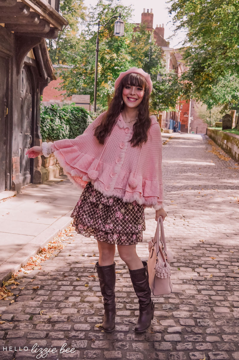 Cute Autumn outfit with pink poncho by hellolizziebee