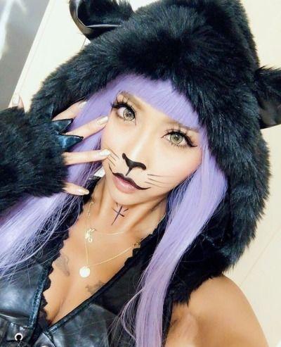 Cat Gyaru Halloween Makeup