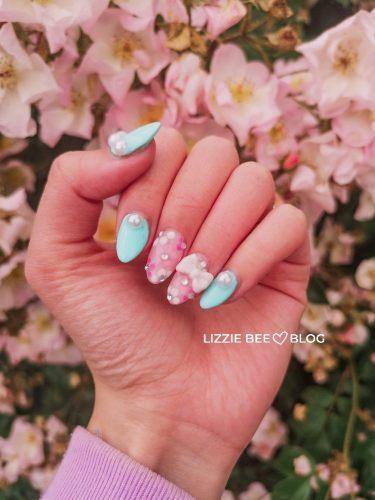 Pastel Mint and Pink Floral Gyaru Nails