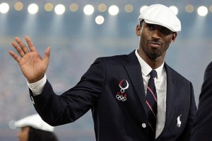 Kobe Bryant wears a beret during the Olympics opening ceremonies.
