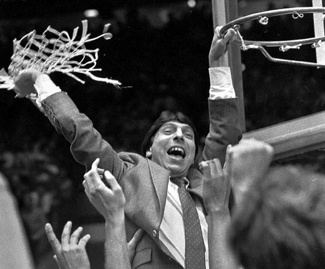 "Jimmy V (Jim Valvano) of NC State celebrates their national title. ""Don't Give Up, don't ever give up."""