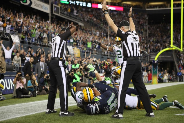 SEATTLE, WA - SEPTEMBER 24:  Wide receiver Golden Tate #81 of the Seattle Seahawks makes a catch in the end zone to defeat the Green Bay Packers on a controversial call by the officials at CenturyLink Field on September 24, 2012 in Seattle, Washington.  (Photo by Otto Greule Jr/Getty Images)